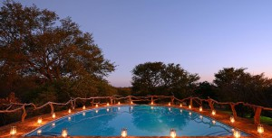 Thaba Khaya Game Lodge Pool-With-Lanterns