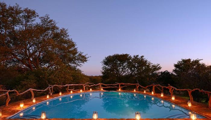 Thaba Khaya Game Lodge Pool-With-Lanterns